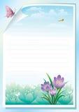 Papel vacío con el prado floral en fondo ilustración del vector