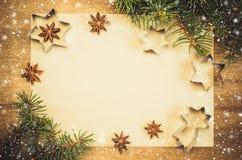 Papel vacío para la receta de la hornada de la Navidad Fondo del día de fiesta Fotos de archivo libres de regalías