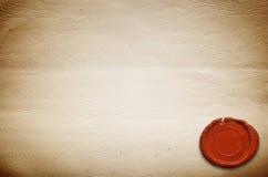 Papel vazio do vintage com selo da cera imagem de stock royalty free