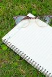 Papel vazio na grama verde Fotos de Stock Royalty Free