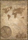 Papel velho com compasso e mapa. Imagens de Stock Royalty Free