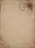 Papel velho com flor ilustração royalty free