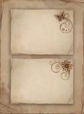 Papel velho com flor ilustração stock