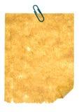 Papel velho com grampo Fotografia de Stock Royalty Free