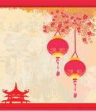 Papel velho com paisagem asiática e a lanterna chinesa ilustração stock