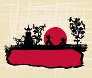 Papel velho com samurai da silhueta ilustração stock