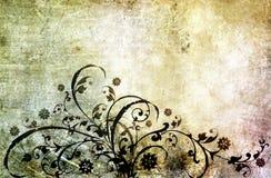 Papel velho com teste padrão floral Fotografia de Stock