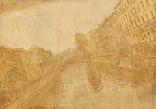 Papel velho da folha com imagem da rua da cidade Imagem de Stock Royalty Free