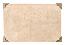 Papel velho da foto com o canto isolado no branco cartão sujo Foto de Stock Royalty Free