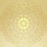 Papel velho do vintage com teste padrão redondo do ouro ilustração royalty free