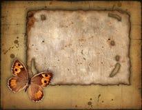 Papel velho e a borboleta ilustração stock