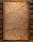 Papel velho na parede de madeira Imagem de Stock Royalty Free