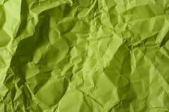 Papel verde amarrotado imagem de stock