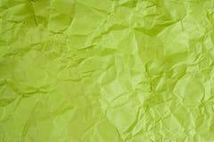 Papel verde amarrotado fotografia de stock