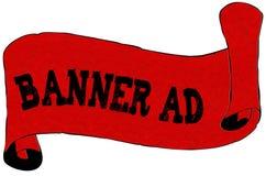 Papel vermelho do rolo com texto do ANÚNCIO da BANDEIRA Imagem de Stock Royalty Free