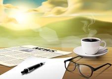 Papel-vidrio de las taza-hoja-pluma-noticias del café en la tabla de madera en el MOR Foto de archivo