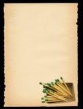 Papel viejo con adorno de la caja de fósforos Fotografía de archivo libre de regalías