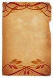 Papel viejo con diseños florales caligráficos Fotografía de archivo