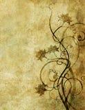 Papel viejo con el modelo floral foto de archivo