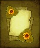 Papel viejo con las flores Imágenes de archivo libres de regalías