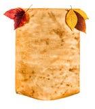 Papel viejo con las hojas de otoño, nota del otoño Imagenes de archivo