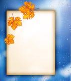 Papel viejo con las hojas de otoño sobre ventana mojada Foto de archivo