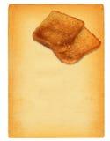Papel viejo con pan de la tostada Imágenes de archivo libres de regalías