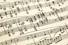 Papel viejo con partitura del vintage Imagen de archivo