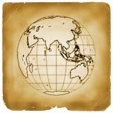 Papel viejo de la tierra del globo del planeta imagen de archivo libre de regalías