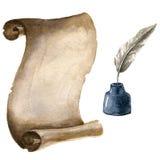Papel viejo de la voluta con la pluma y la tinta Imagen de archivo libre de regalías
