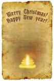 Papel viejo del Grunge con el saludo de la Navidad y del Año Nuevo Imagen de archivo