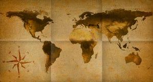 Papel viejo del mapa de la palabra Imagen de archivo