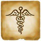 Papel viejo del símbolo de Hermes del caduceo Fotos de archivo libres de regalías