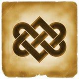 Papel viejo del símbolo del nudo del corazón que entrelaza stock de ilustración