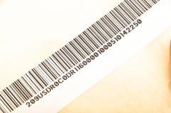 Papel y código de barras pegajosos imágenes de archivo libres de regalías