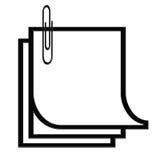 Papel y clip blancos y negros Stock de ilustración