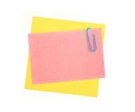 Papel y clip de nota Imagen de archivo