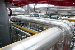 Papel y fábrica de celulosa - planta de la cogeneración Fotografía de archivo