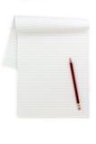 Papel y lápiz alineados blancos Fotos de archivo libres de regalías