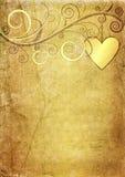 Papel yellow-brown viejo de la tarjeta del día de San Valentín Imagen de archivo