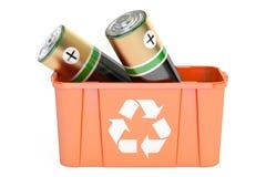 Papelera de reciclaje con las baterías, representación 3D ilustración del vector