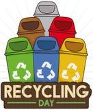 Papeleras de reciclaje coloreadas para la basura apropiada que clasifica en el reciclaje del día, ejemplo del vector libre illustration