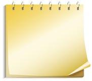 Papeles amarillos del cuaderno Foto de archivo libre de regalías