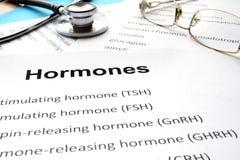 Papeles con las hormonas lista y las hormonas de la palabra Imagen de archivo libre de regalías