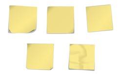 Papeles de nota amarillos Foto de archivo libre de regalías