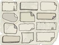 Papeles de nota del Doodle Imágenes de archivo libres de regalías