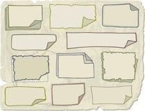 Papeles de nota del Doodle Imagen de archivo