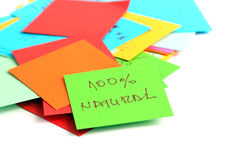Papeles de nota en el fondo blanco Fotografía de archivo libre de regalías