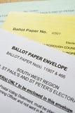 Papeles de votación de la balota Foto de archivo