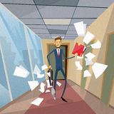 Papeles del documento de Run From Office del hombre de negocios Imagenes de archivo